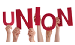 Hands holding up letters spelling 'Union'