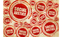 """Many stamps with the words """"Social Justice"""""""